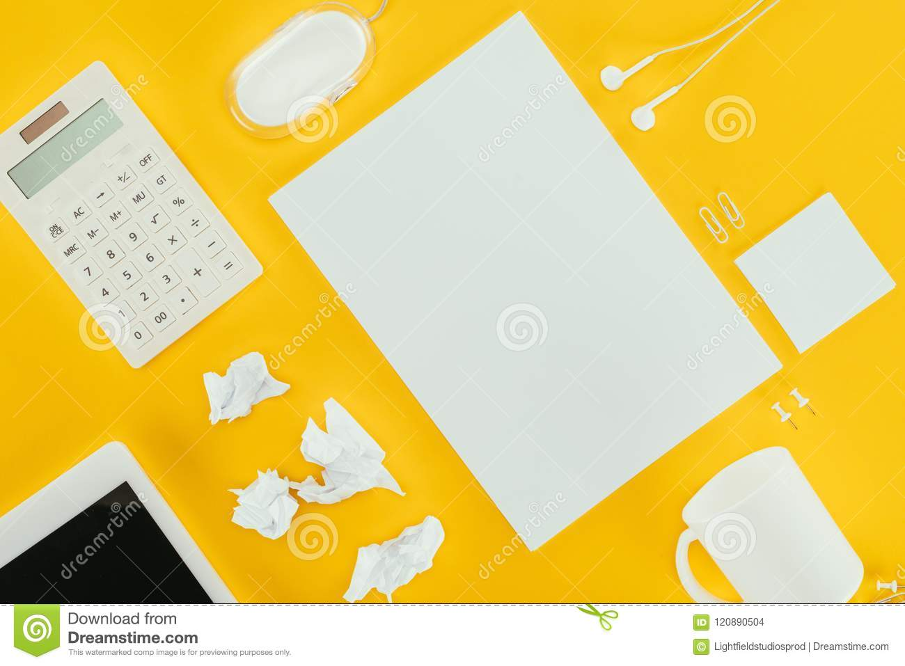Top View Of Blank Sheet Of Paper Crumpled Papers Notes