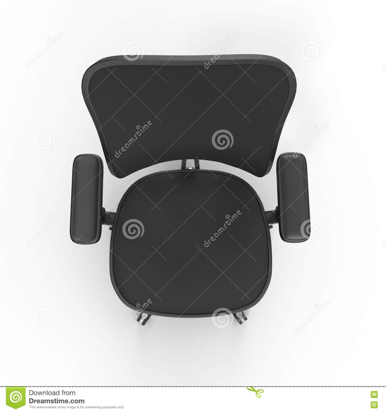 desk chair plan view massage pad top cloth covered office isolated on white