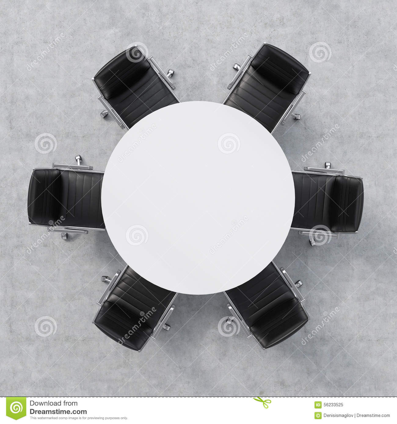 8 seater round dining table and chairs indoor rattan top view of a conference room. white six around. office interior. 3d ...