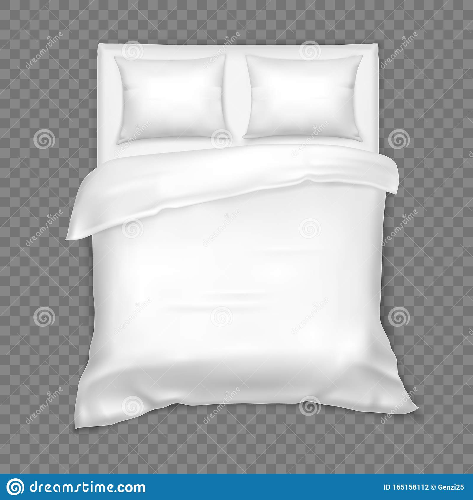 https www dreamstime com top view double bed matress white linen pillow cushion duvet blank interior bedroom comfortable isolated furniture image165158112