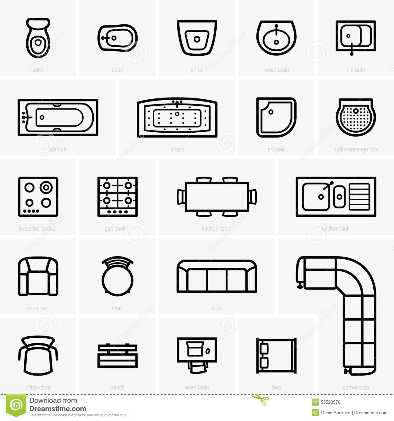 Top View Furniture Icons Stock Vector Illustration Of