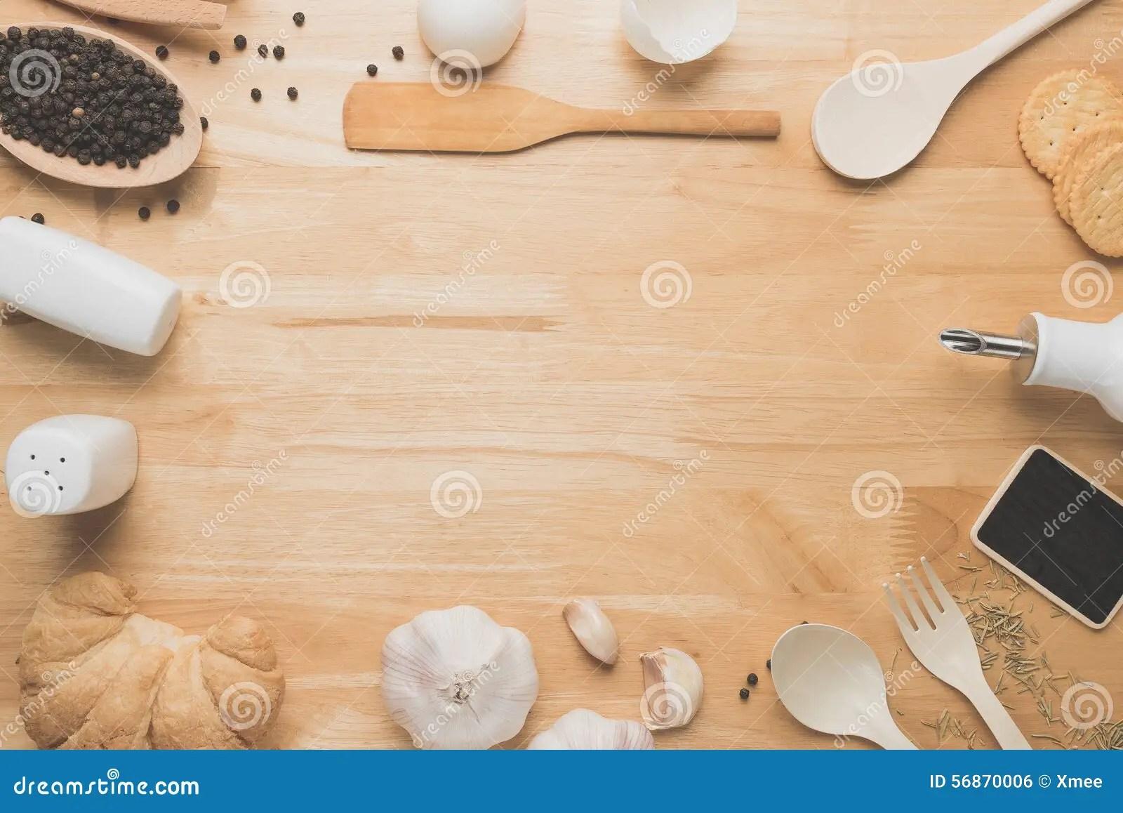Top View Kitchen MockupRural Kitchen Utensils On Wooden