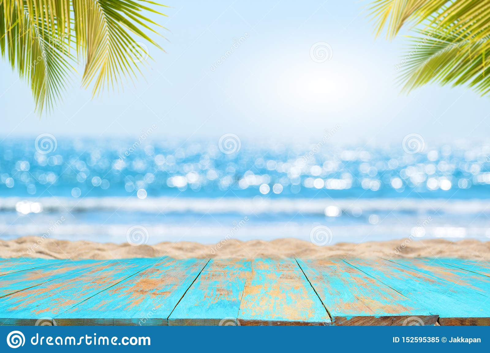Empty Ready For Your Product Display Montage Summer Vacation Background Concept Stock Image Image Of Floor Plank 152595385