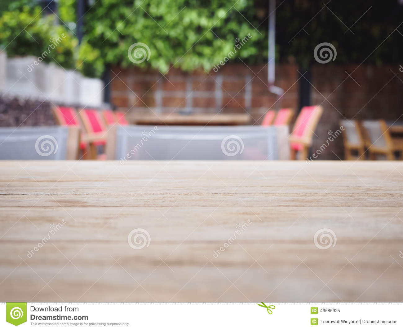 Top Of Wooden Table With Blurred Restaurant Cafe