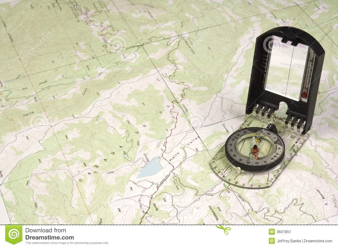 Topo Map And Compass Stock Image