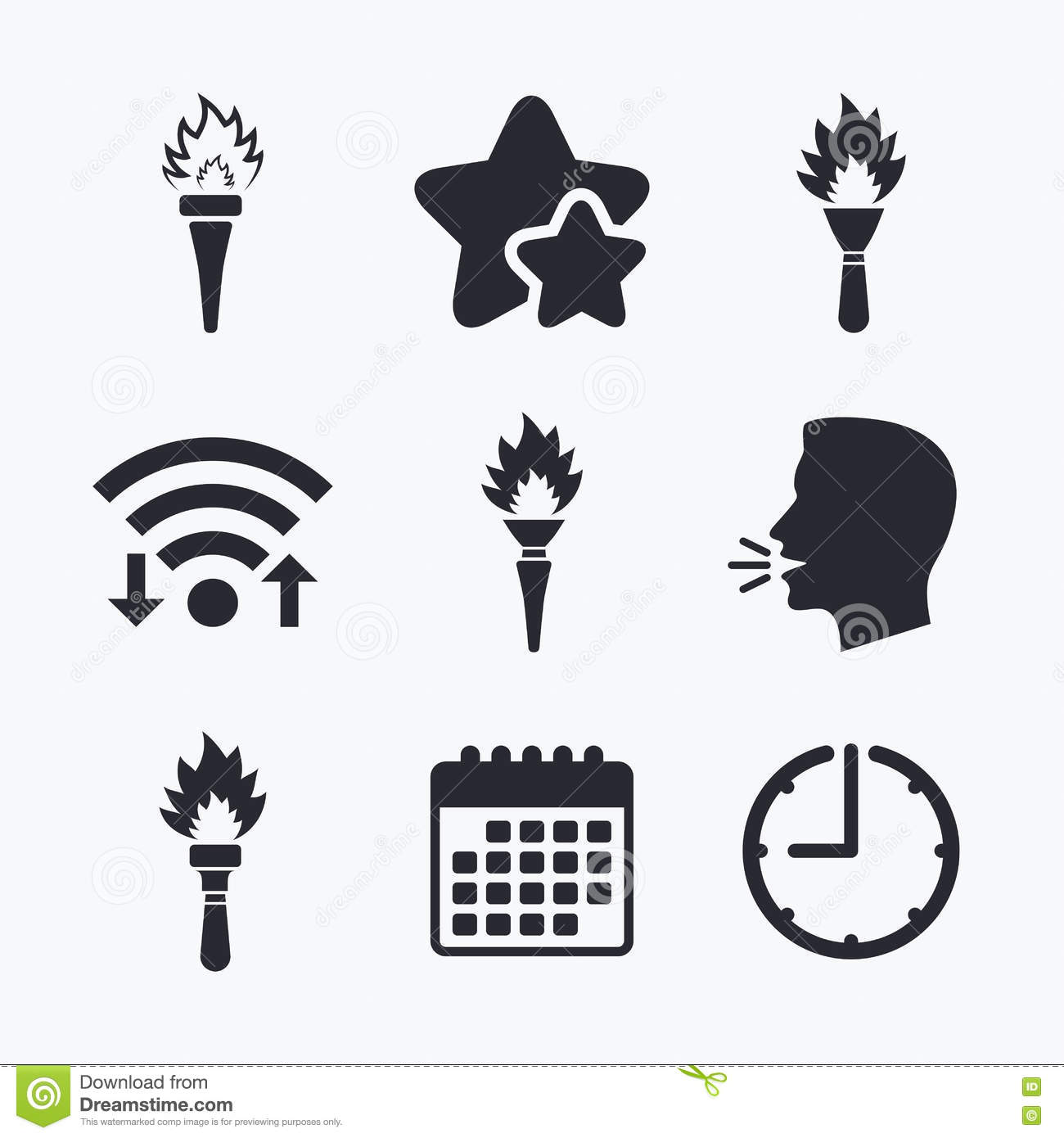 torch flame icons fire