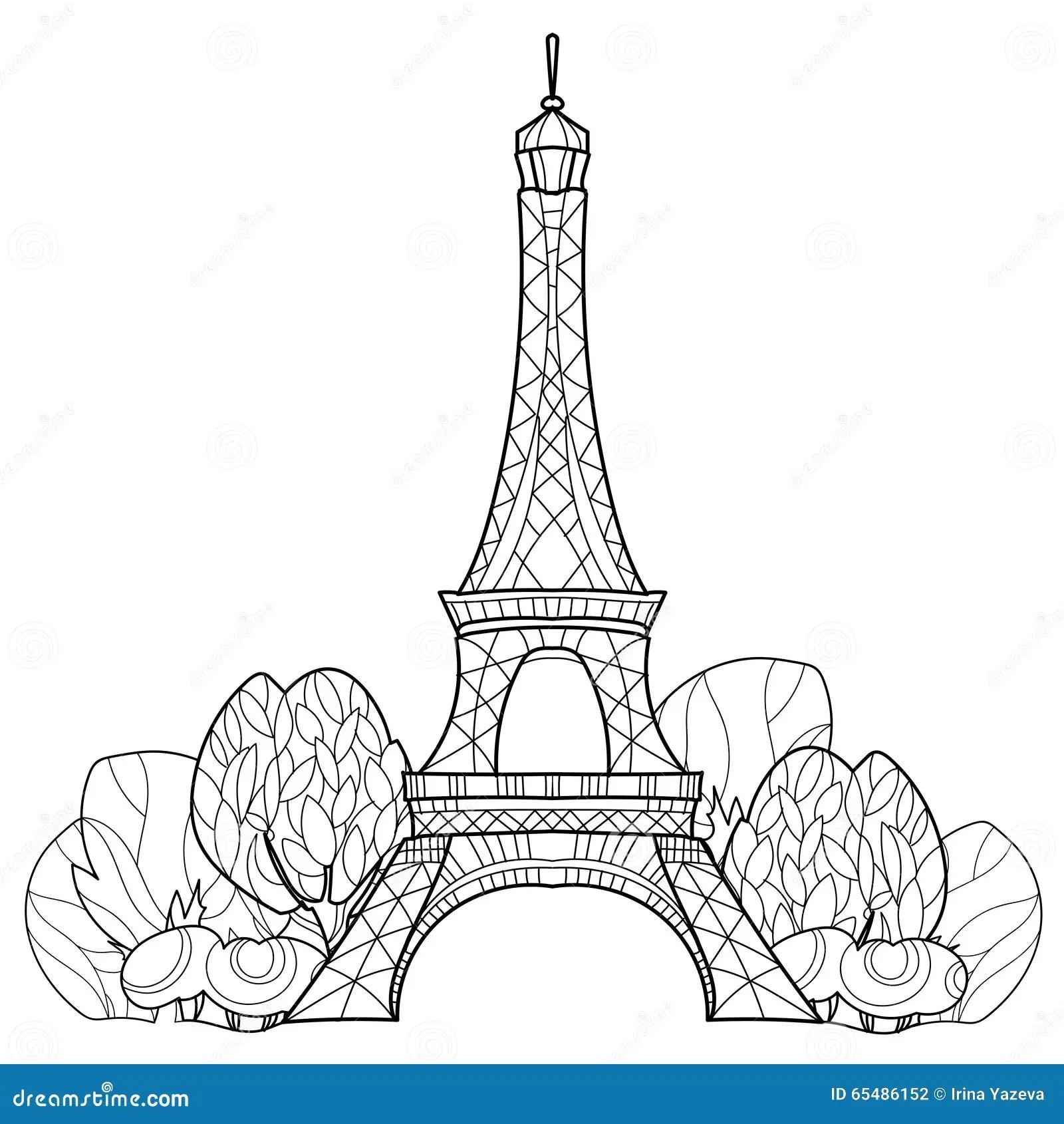 Torre Eiffel Di Scarabocchio Schizzo Disegnato A Mano Di