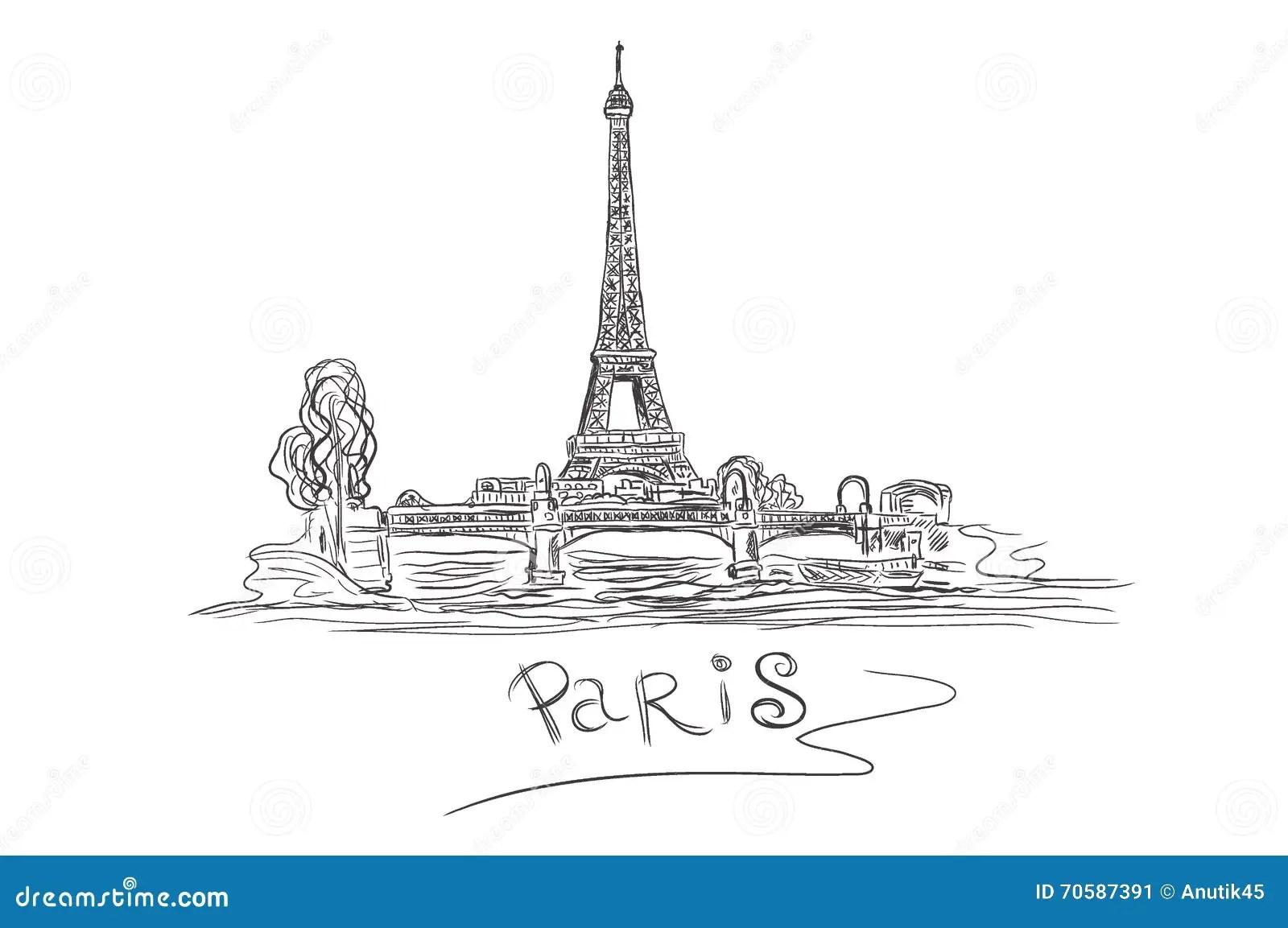 Torre Eiffel Parigi Francia Schizzo Illustrazione Di