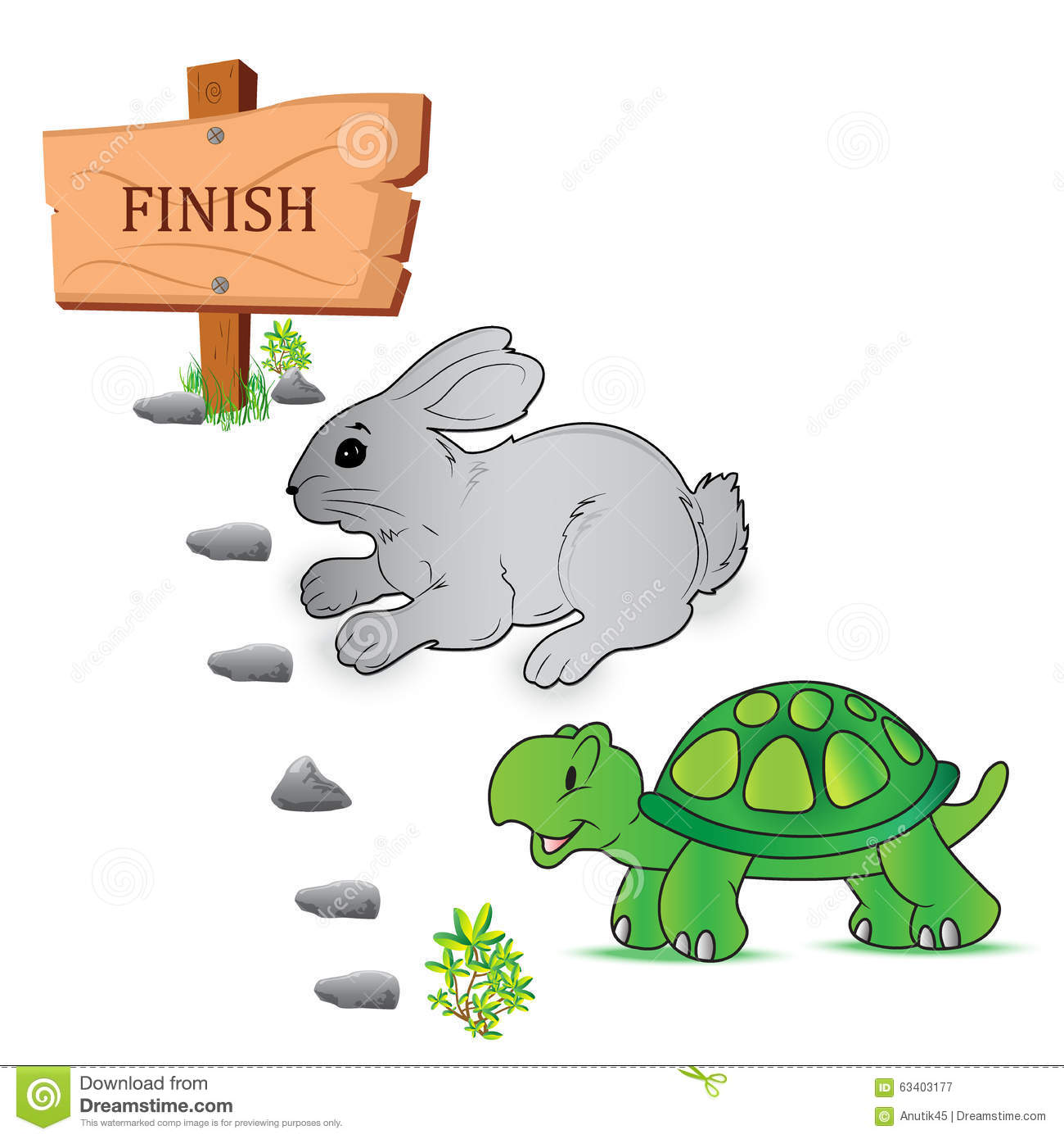 Tortoise Hare Race Vector Illustration Stock Vector