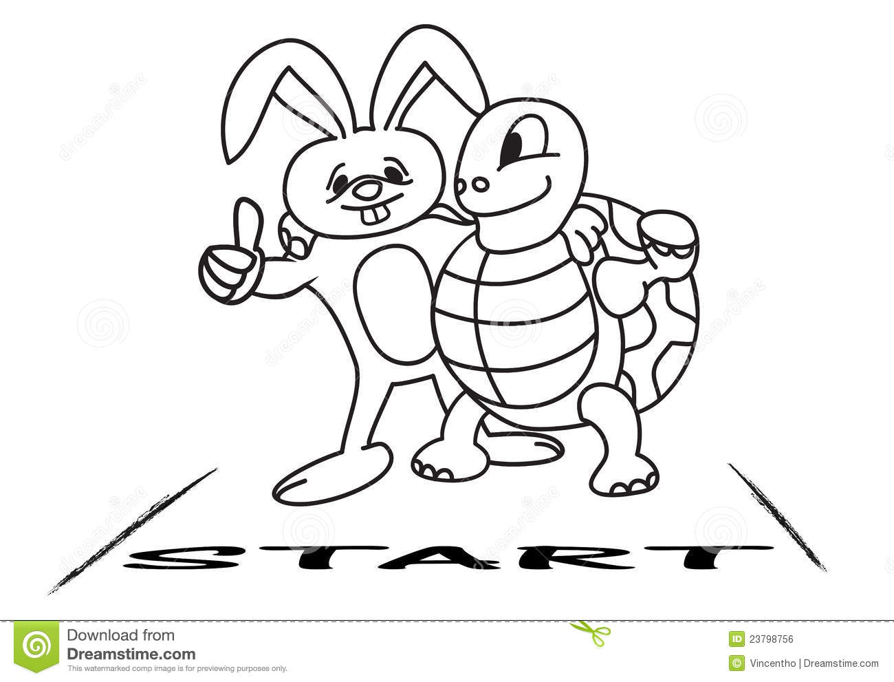 Tortoise And Hare At The Starting Line Stock Vector