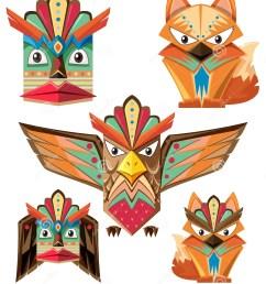 totem pole design with animals [ 1214 x 1300 Pixel ]