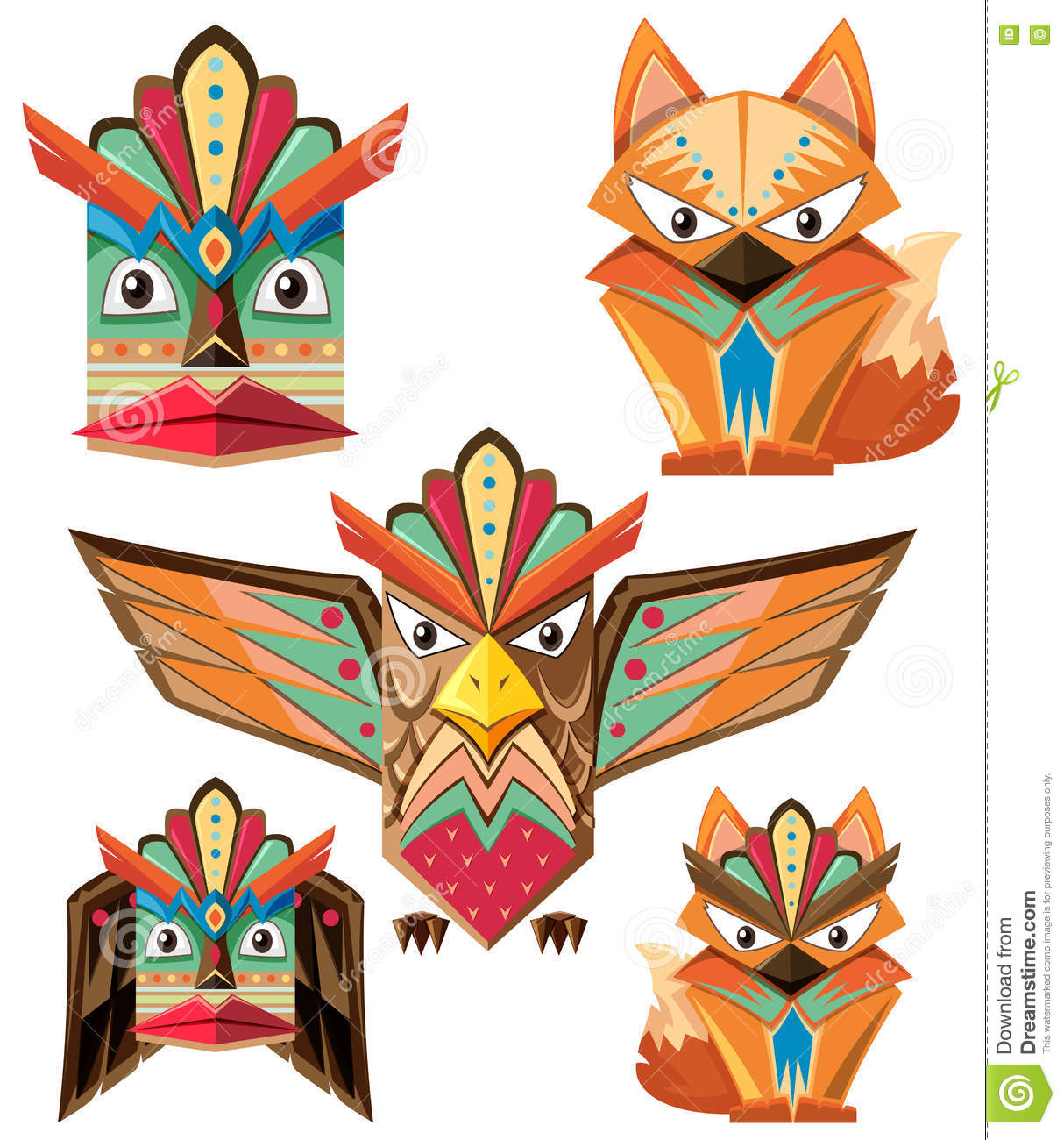 hight resolution of totem pole design with animals