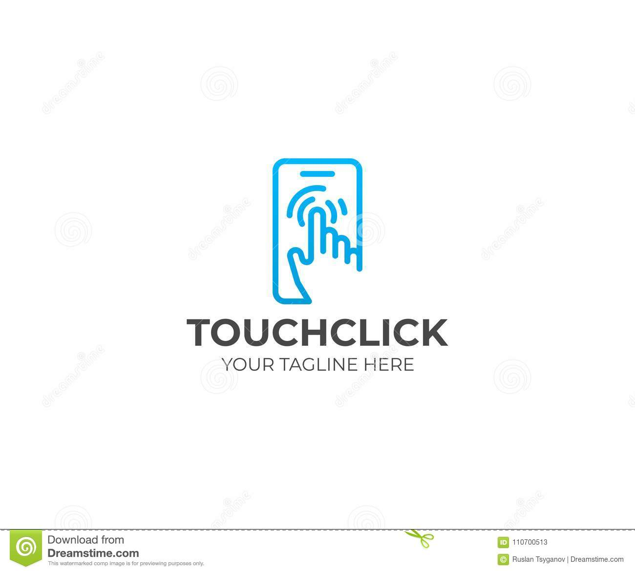 Touch Screen Logo Template. Human Hand And Mobile Phone
