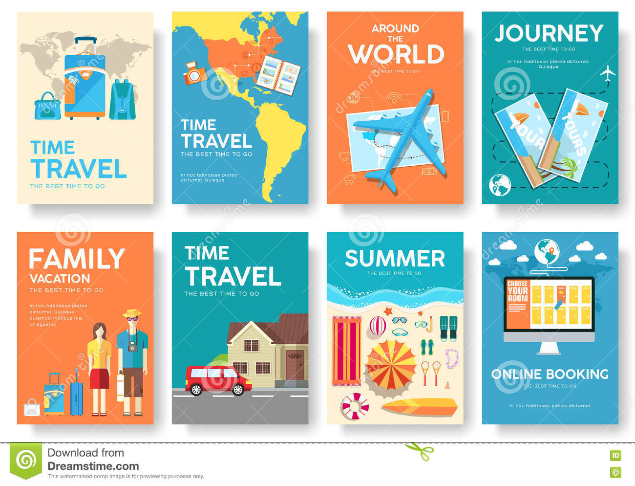 Tour Of The World Vector Brochure Set Travel Icons