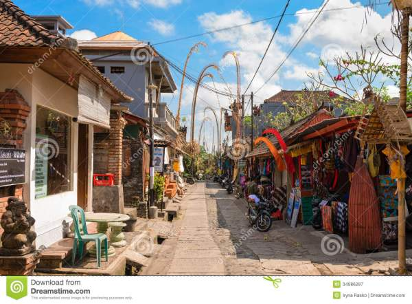Tourist Street Decorated Traditional Penjor Bali Editorial - 34586297