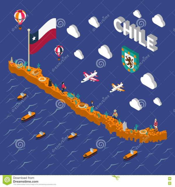 Touristic Attractions Symbols Isometric Chile Map Stock