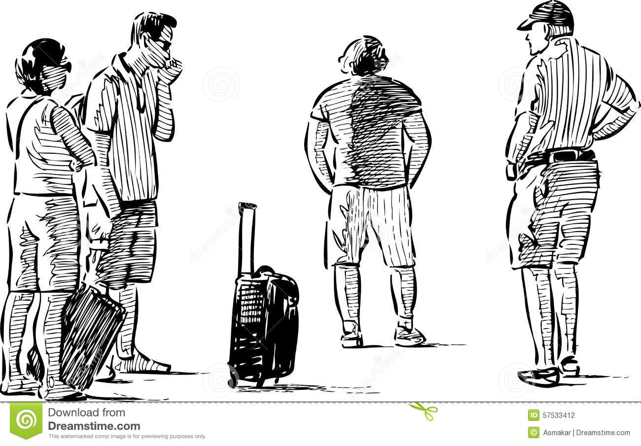 Tourists Awaiting Stock Vector Illustration Of Holiday