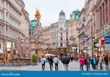 Tourists Foot Graben Street In Vienna. Editorial