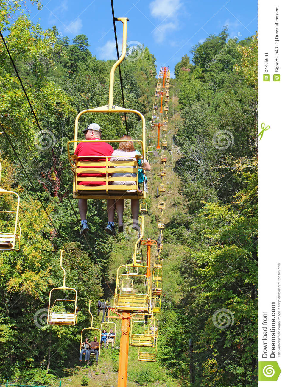 Tourists Riding The Sky Lift In Gatlinburg Tennessee