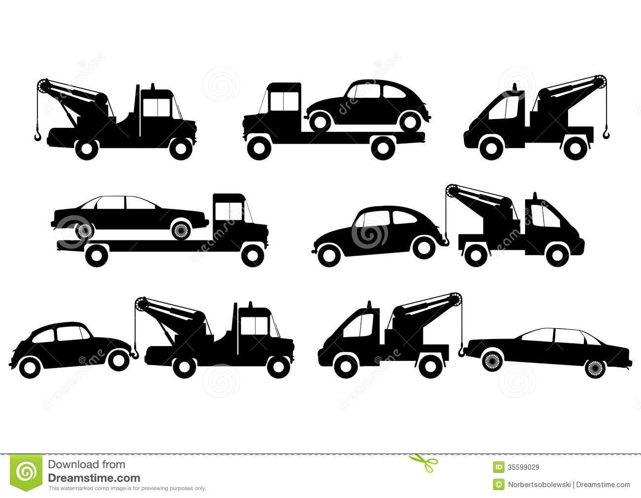 Tow Truck Silhouettes Royalty Free Stock Images