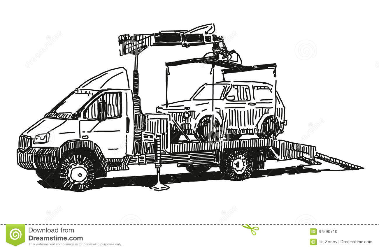 Tow Truck Stock Vector Illustration Of Clip Cool Sketch