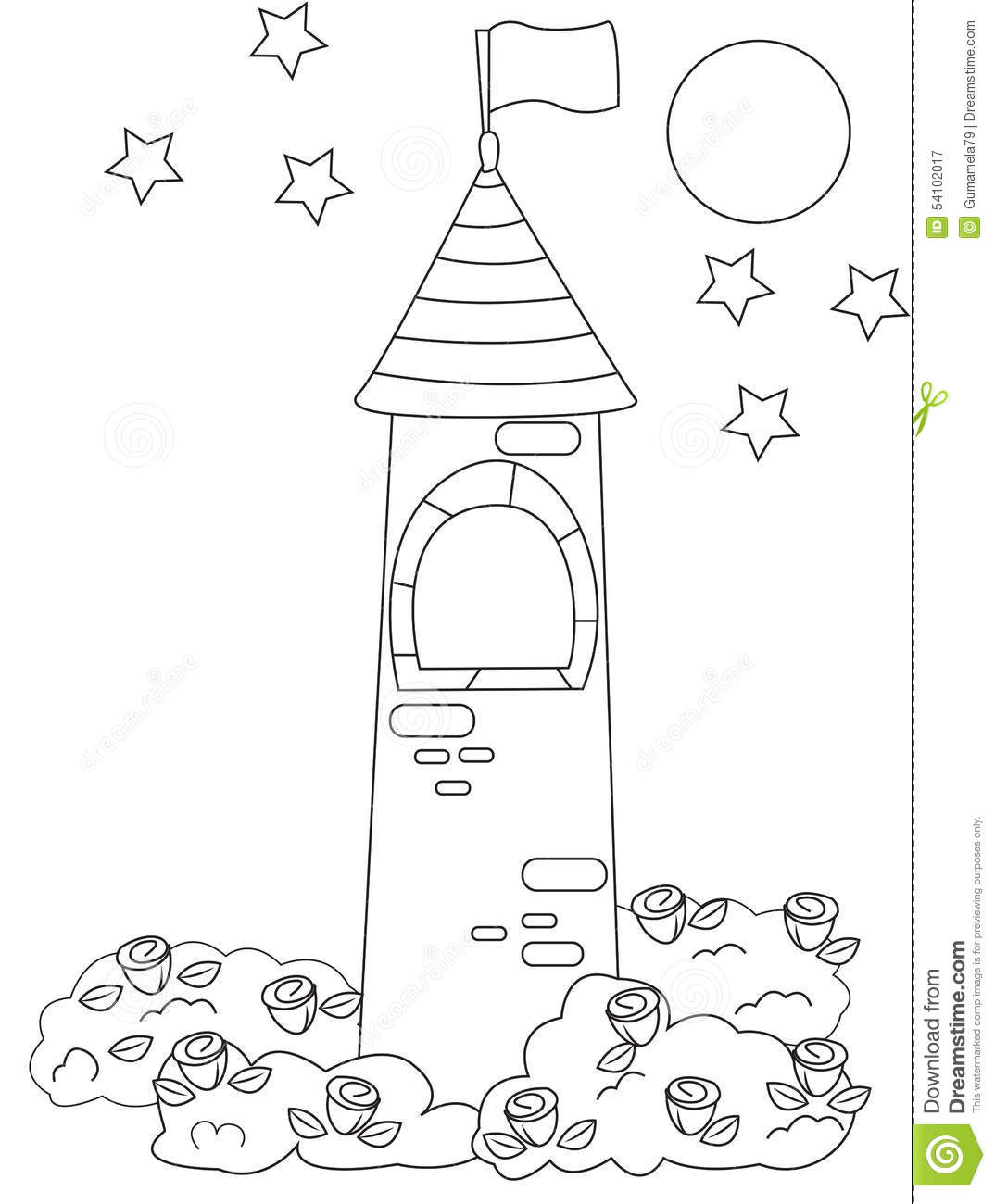 Princess In Castle Tower Coloring Page Castle Coloring Pages Free