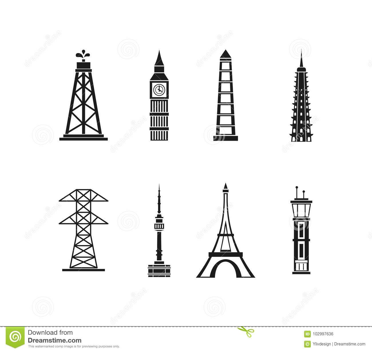 Tower Icon Set Simple Style Stock Vector