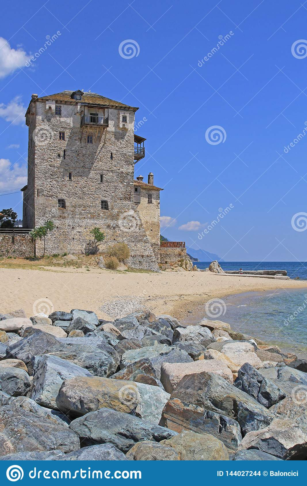 Tower of Ouranoupoli stock photo. Image of aegean. sunny - 144027244