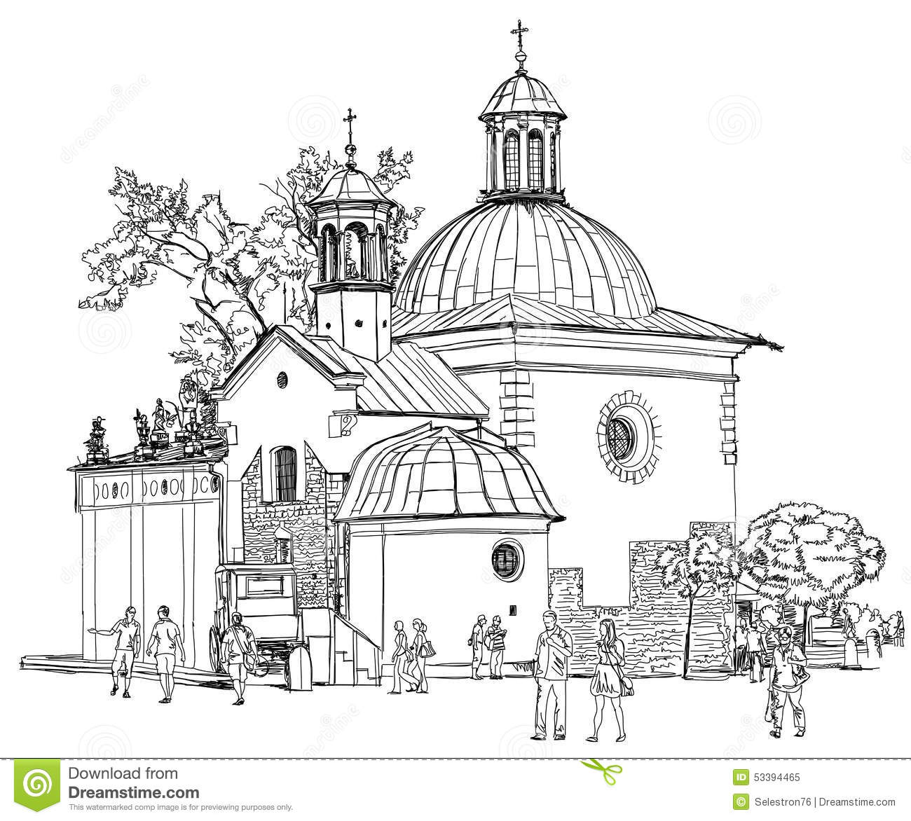 The Town Square In Krakow Poland Stock Vector