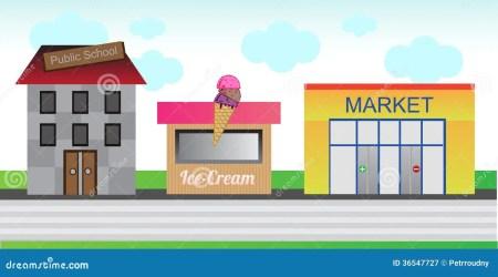 street town cartoon ice cream market