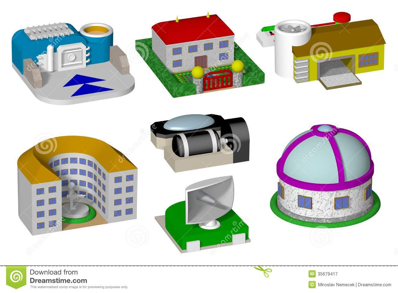 Toy Buildings Isolated On White Background Render Royalty