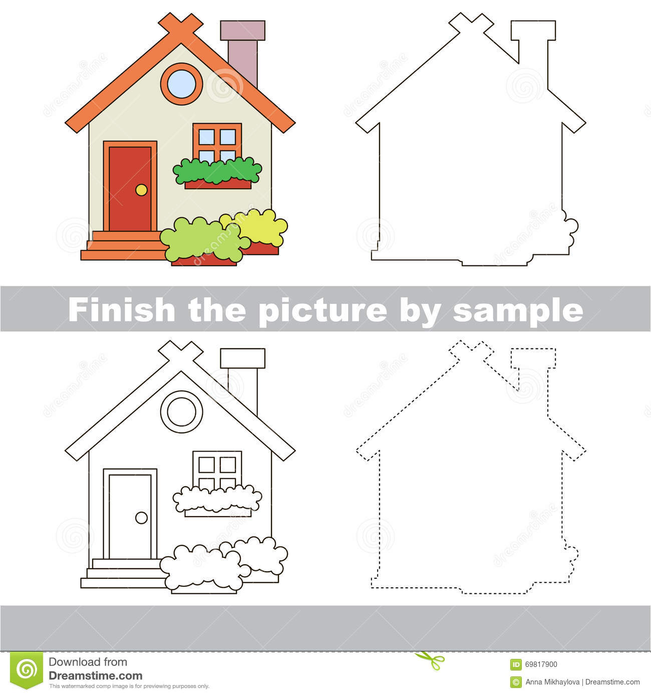Toy House Drawing Worksheet Stock Vector