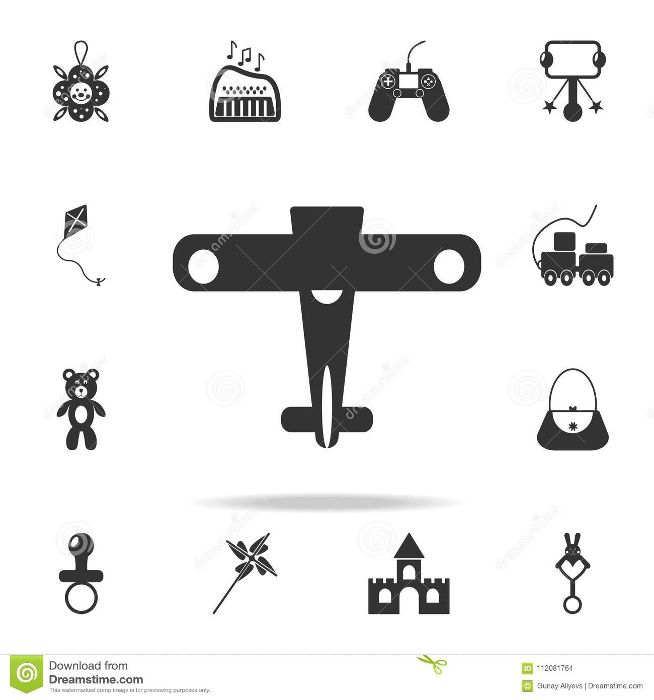 Plane Toy Monochrome Icon Illustration For Web And Mobile