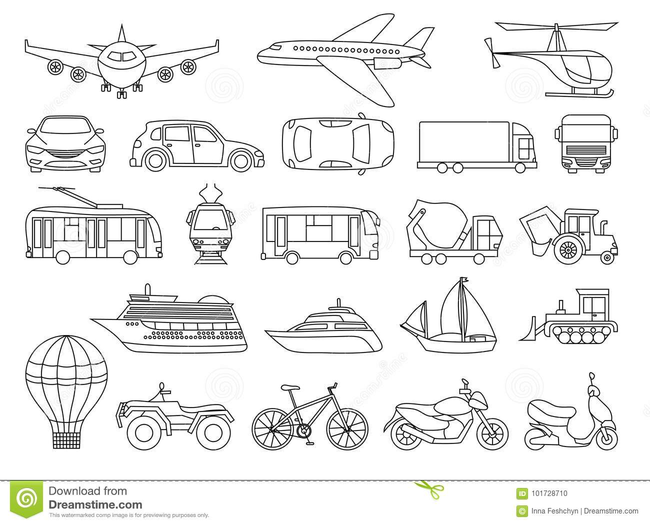 Toy Transport Set To Be Colored Coloring Book To Educate