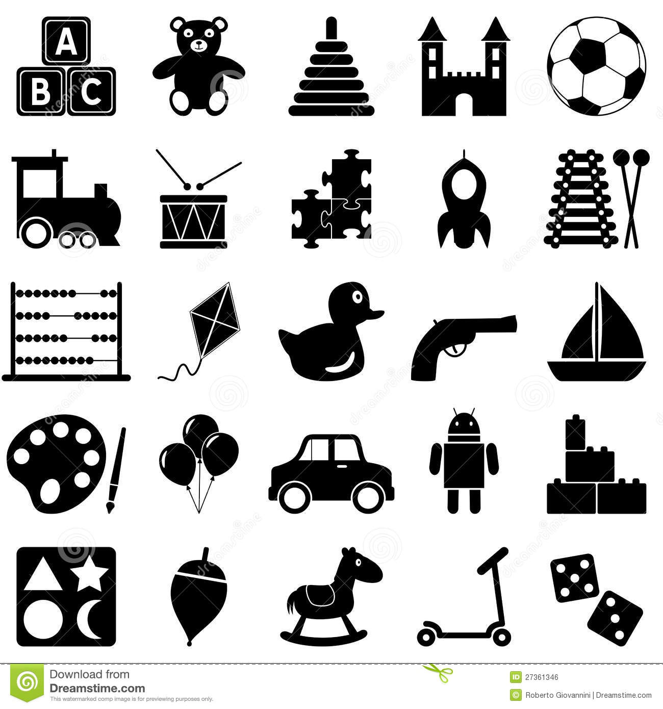 Toys Black And White Icons Stock Vector Illustration Of