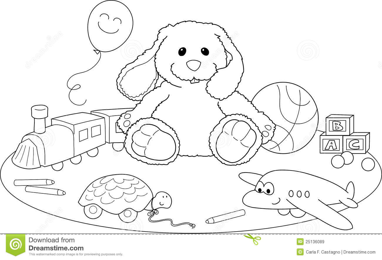 Toys Coloring Vector Stock Vector Illustration Of Objects