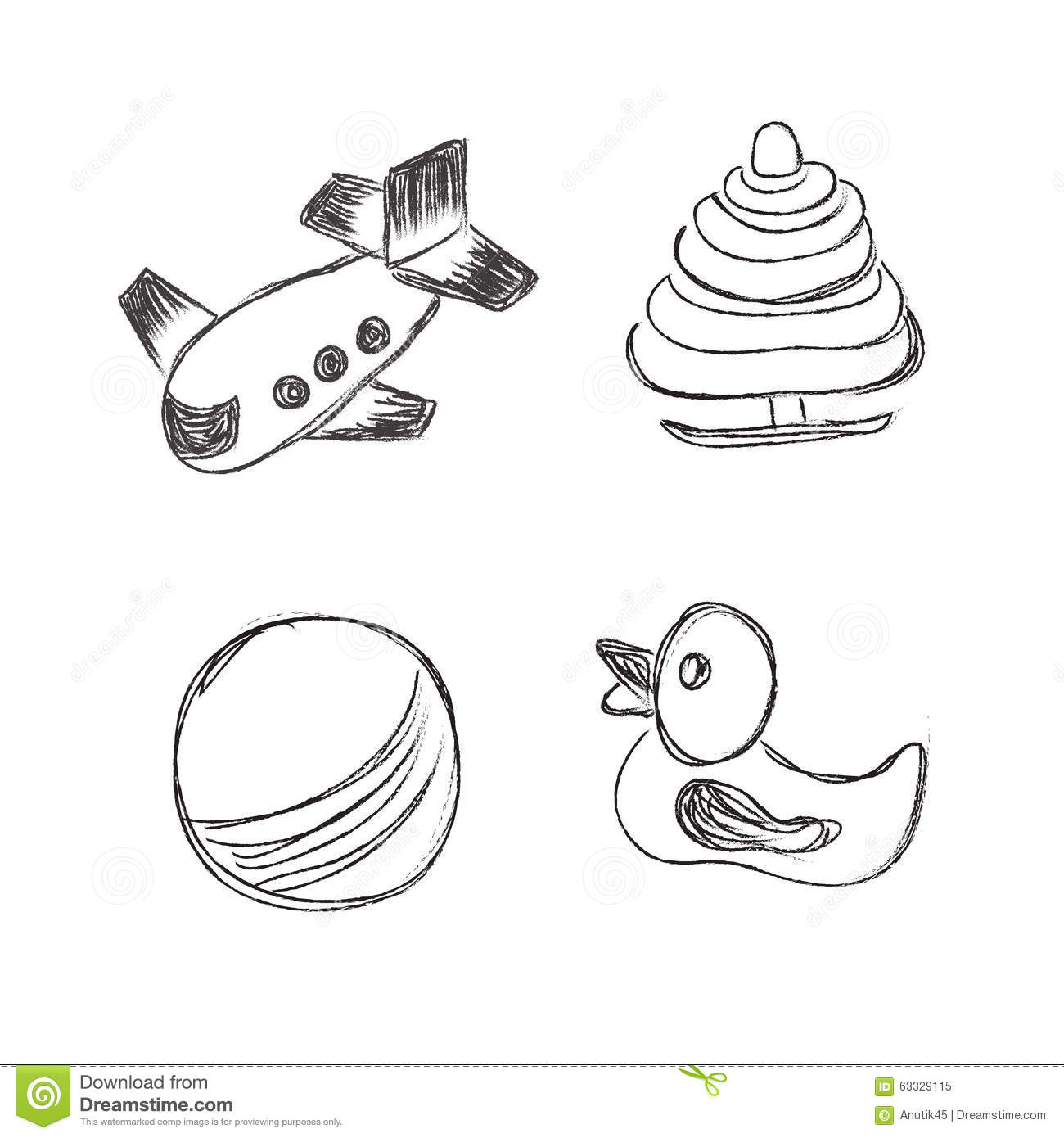 Toys Icons Sketch Illustration Set Clip Art Hand