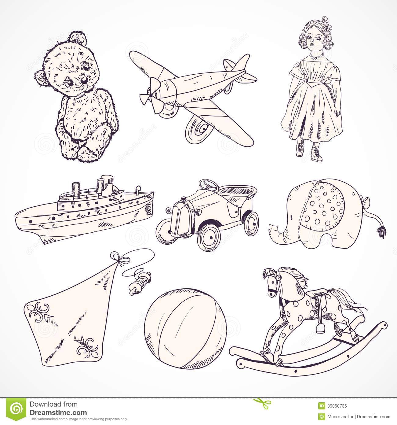 Toys Sketch Icons Set Stock Vector Illustration Of