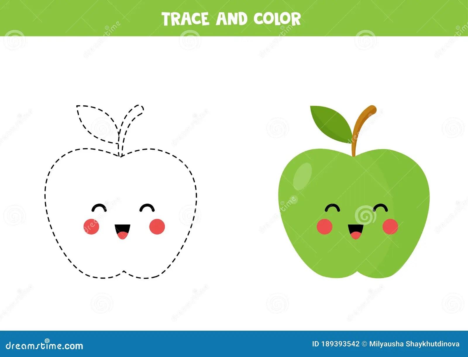 Trace And Color Cute Kawaii Green Apple Educational