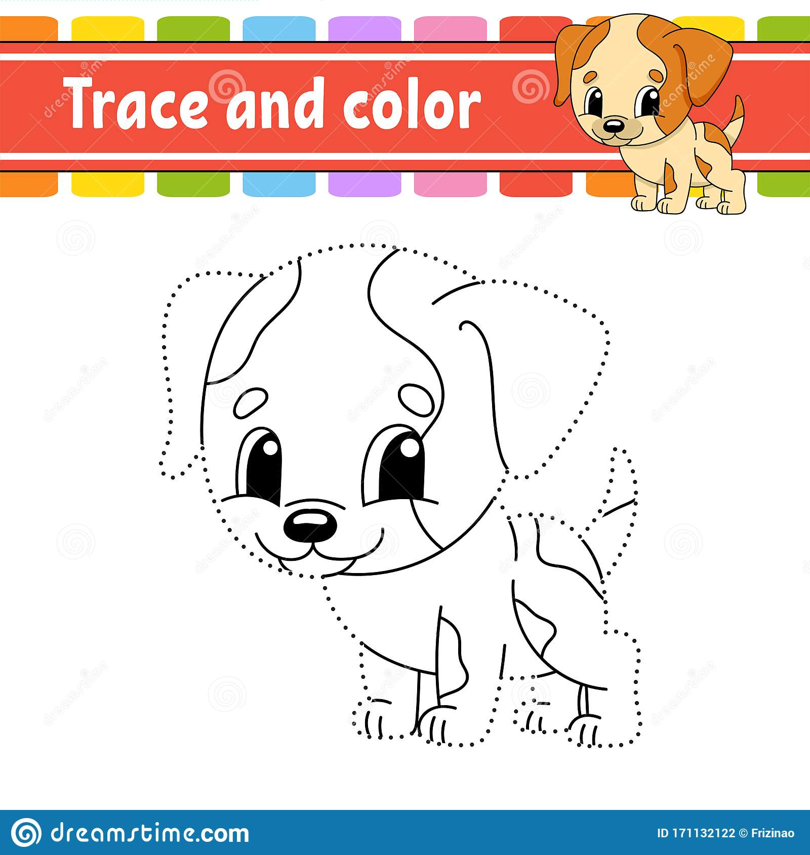 Trace And Color Dog Animal Coloring Page For Kids