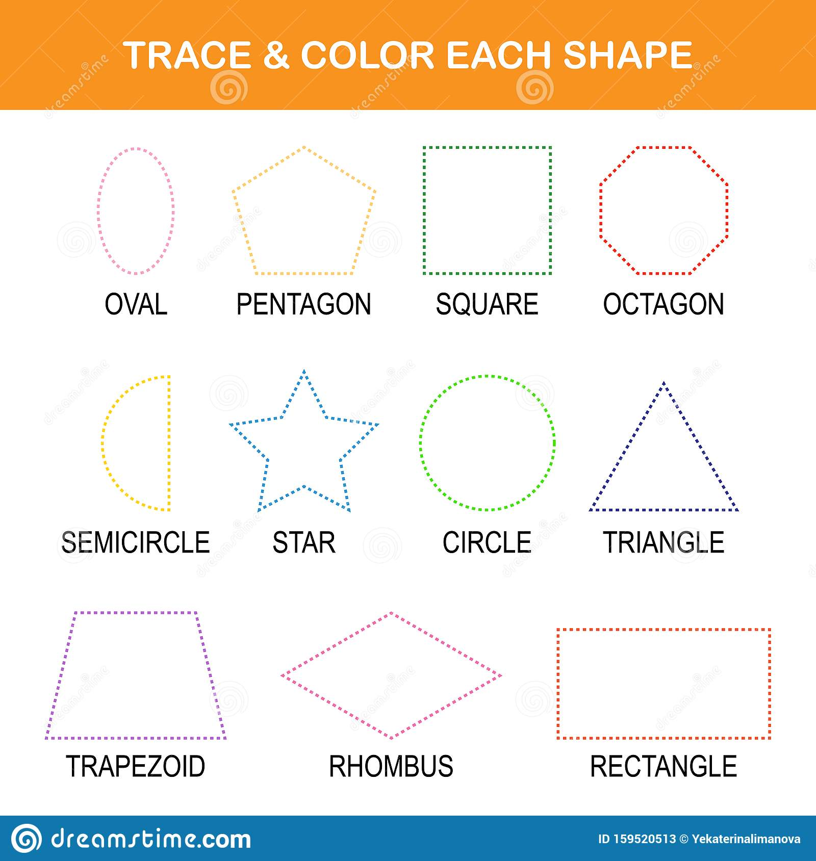 Trace Amp Color Worksheet Stock Vector Illustration Of