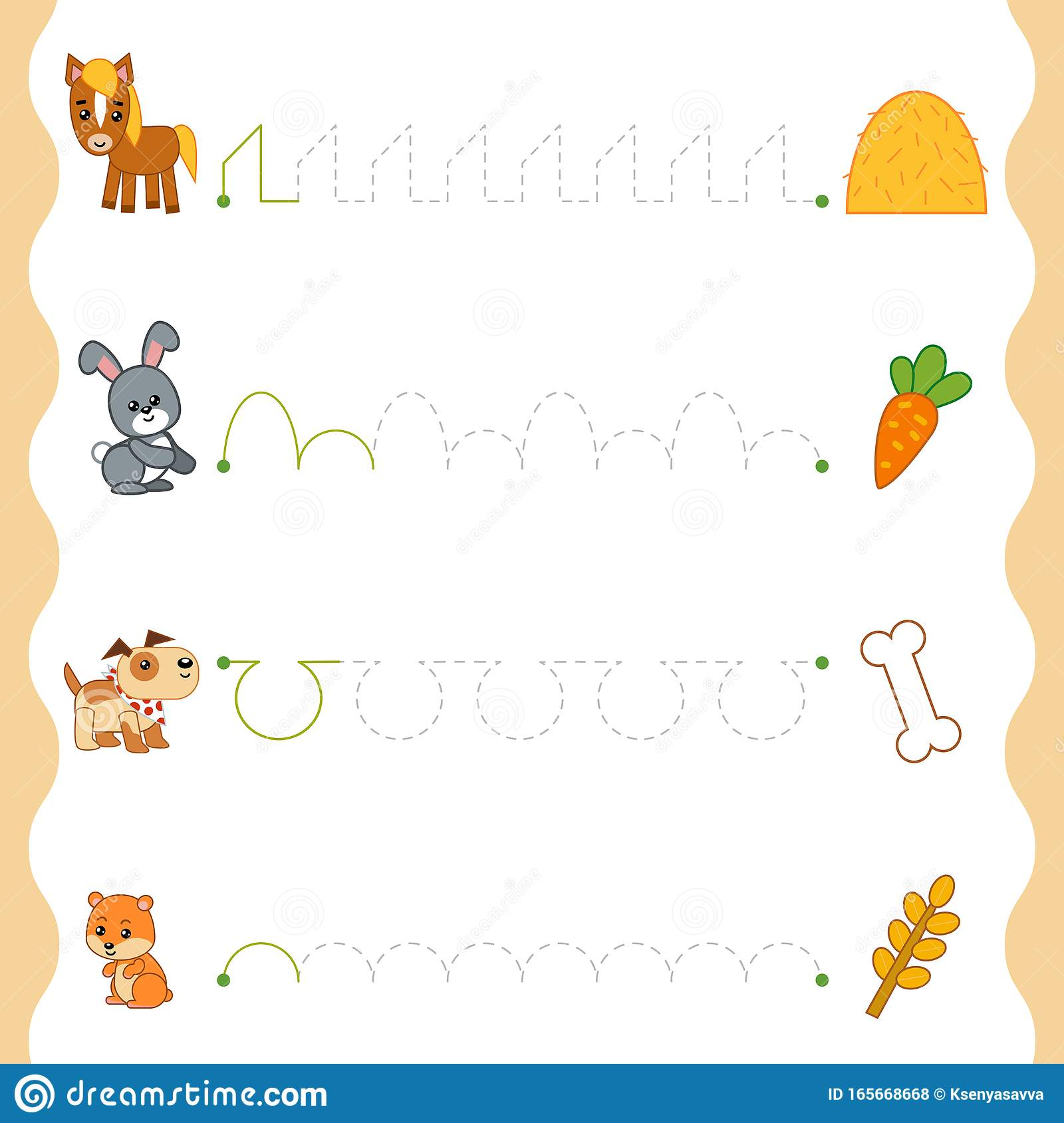 Trace The Dotted Lines From Animals To Food Connect The