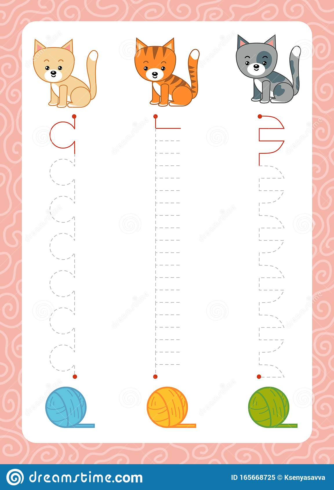 Trace The Dotted Lines From Cats To Balls Of Yarn Connect