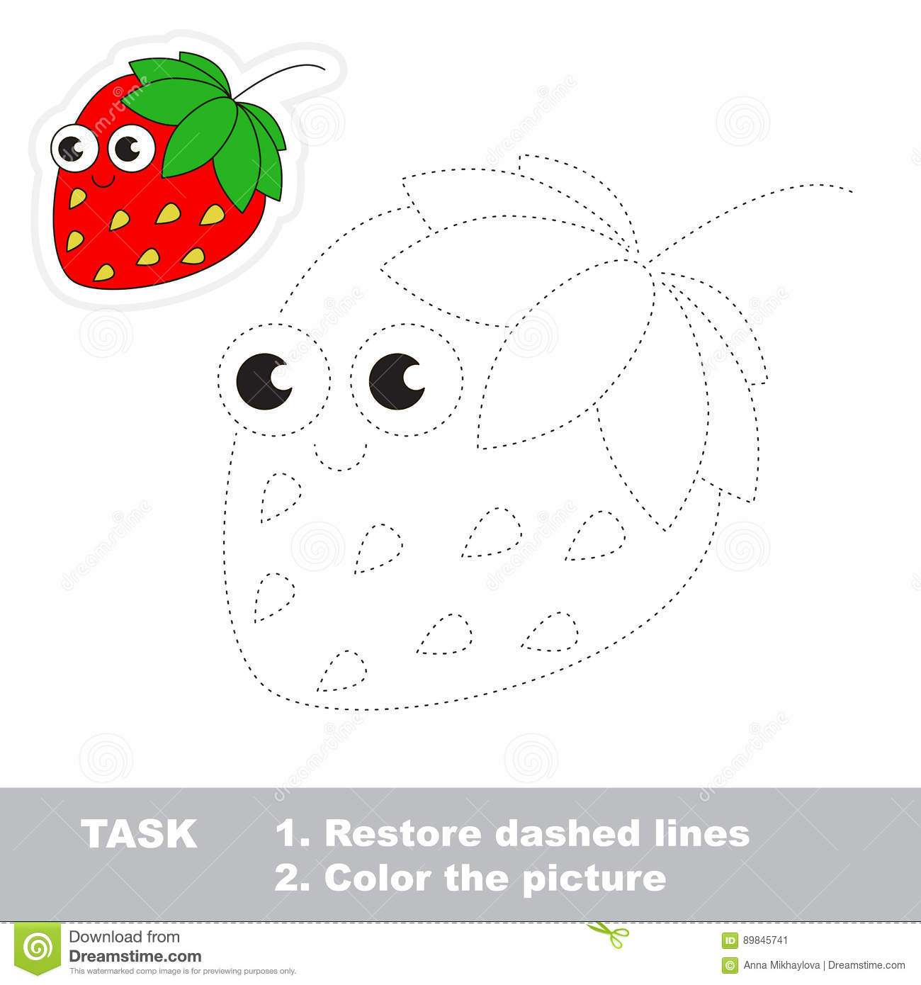 Trace Game For Strawberry Stock Vector Illustration Of