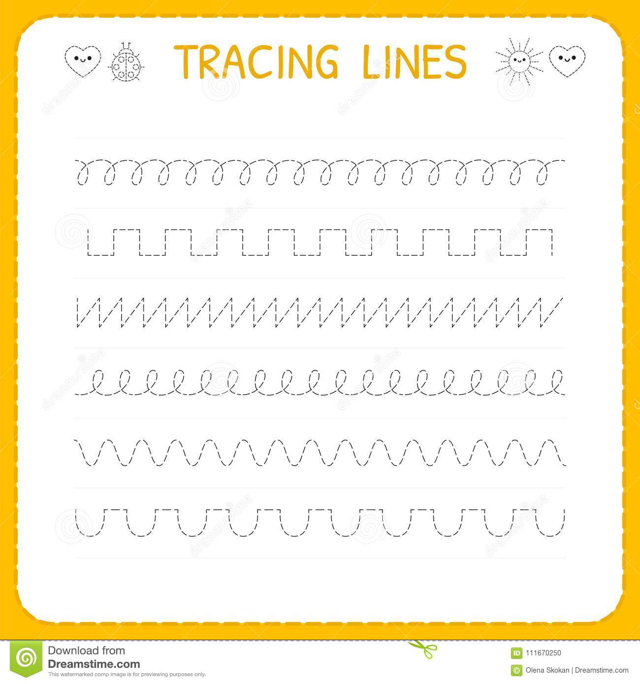 Trace Line Worksheet For Kids Basic Writing Working Pages For Children Preschool Or