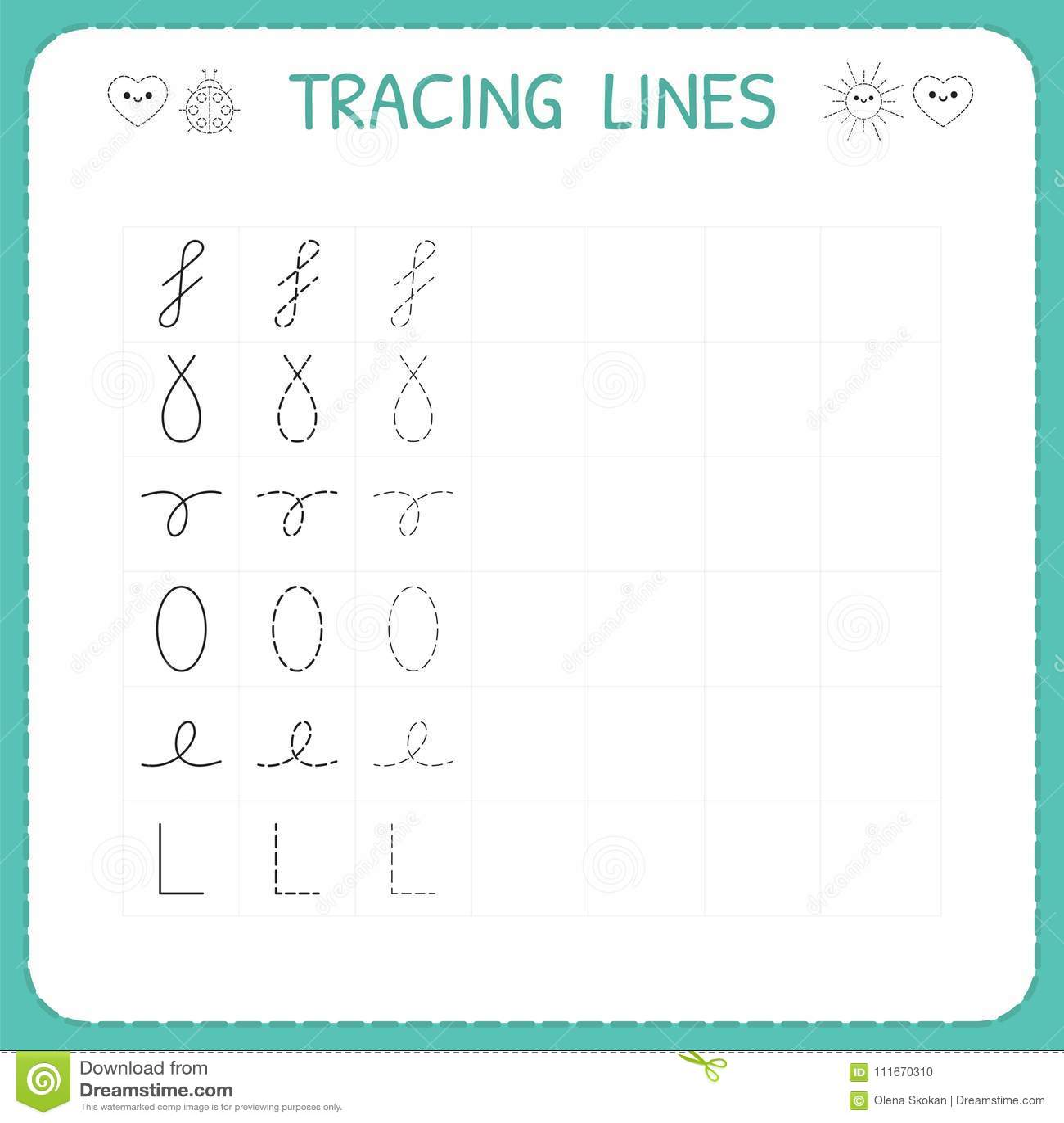Trace Line Worksheet For Kids Preschool Or Kindergarten