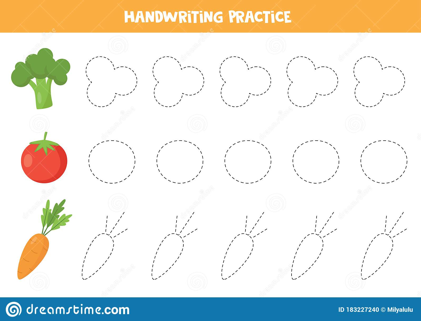 Trace The Lines With Cartoon Broccoli Tomato Carrot