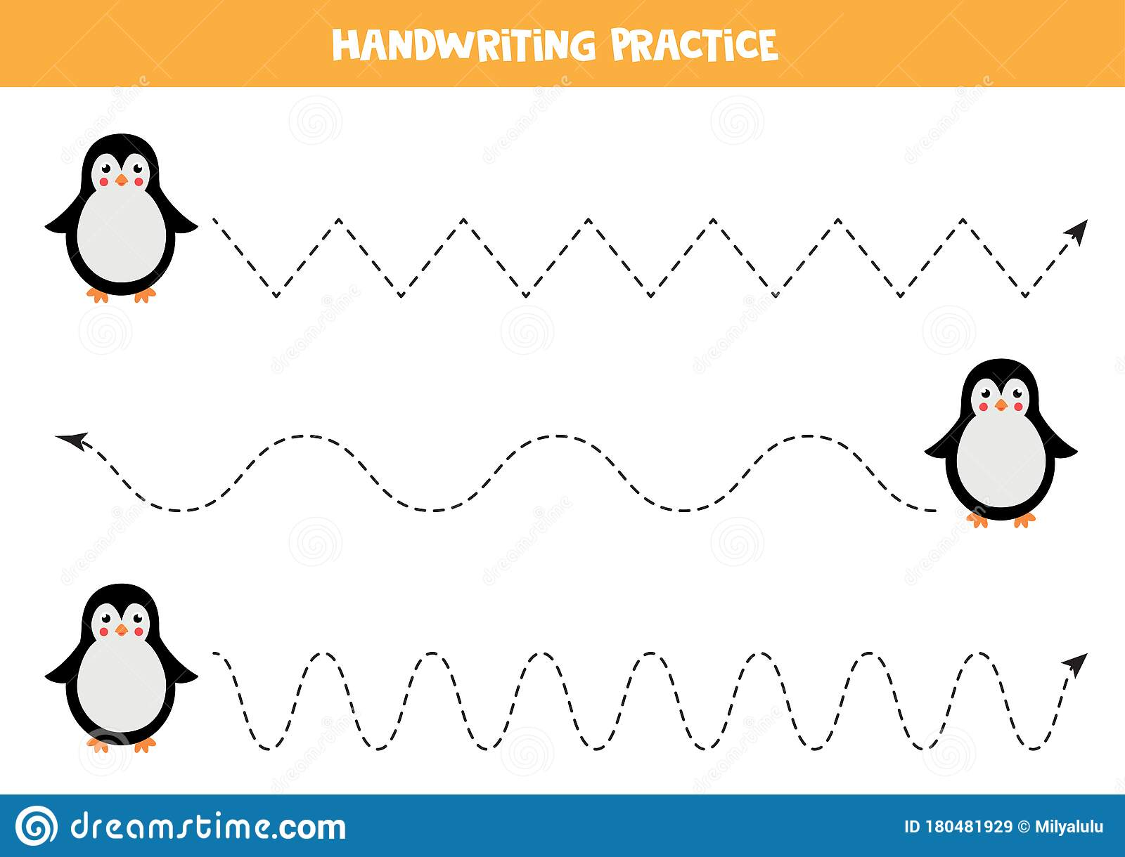 Trace The Lines With Cute Cartoon Penguin Stock Vector