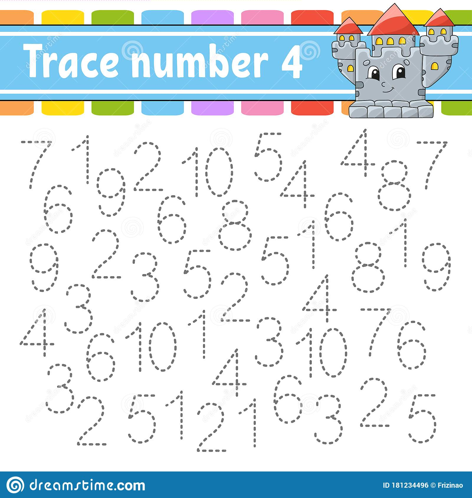 Trace Number 4 Handwriting Practice Learning Numbers For