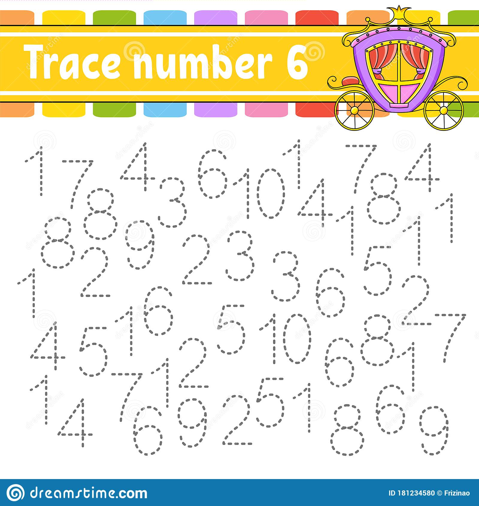 Trace Number 6 Handwriting Practice Learning Numbers For